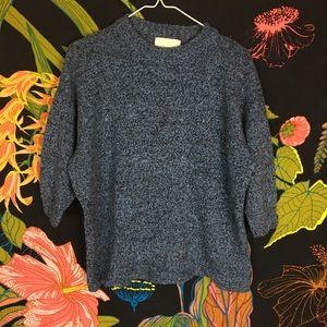 VINTAGE / blue 3/4 length sleeve sweater